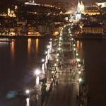 Ночной вид на Карлов мост сверху
